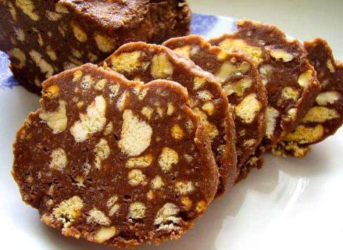 Сливочная колбаска с печеньем и сгущенкой