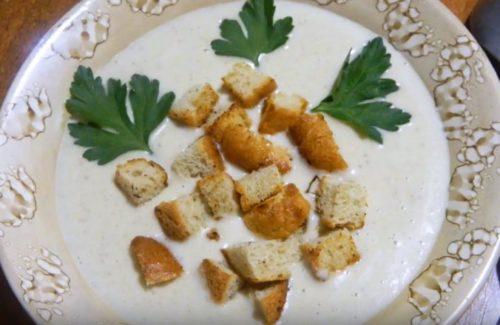 Крем-суп из шампиньонов с плавленным сыром