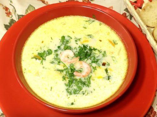 Ароматный сырный суп с креветками