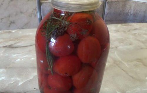 Готовим помидоры быстрого приготовления в банке с хреном и зонтиками укропа