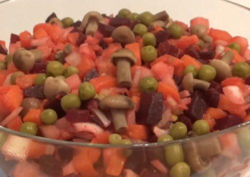 Рецепт винегрета с грибами маринованными или солеными