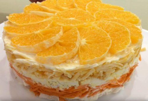 Салат «Новогоднее настроение» с курицей и апельсинами