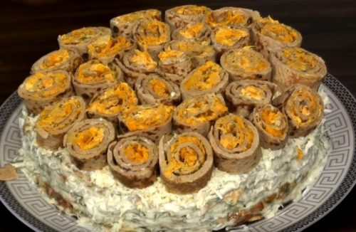 Закусочный печеночно-картофельный торт
