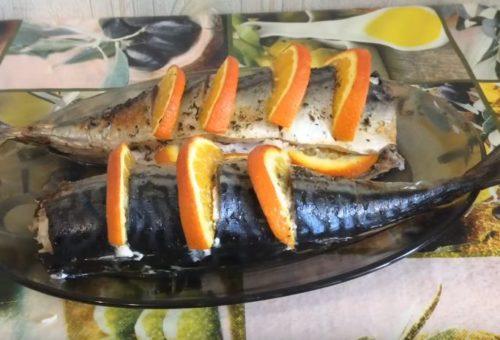 Скумбрия в духовке в фольге с апельсинами