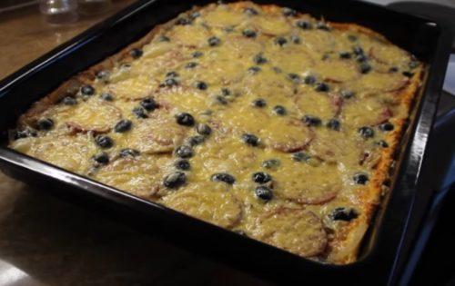 Домашняя пицца с салями, грибами и маслинами