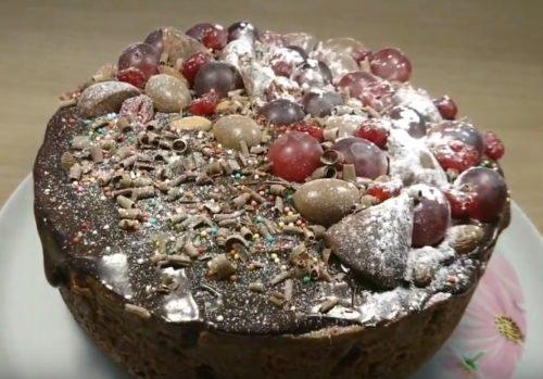 Как приготовить кулич с шоколадом и вишней