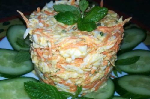 Очень простой салат с корейской морковью, яйцами и сыром