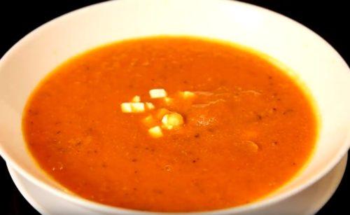 Легкий томатный суп пюре из запеченных помидоров
