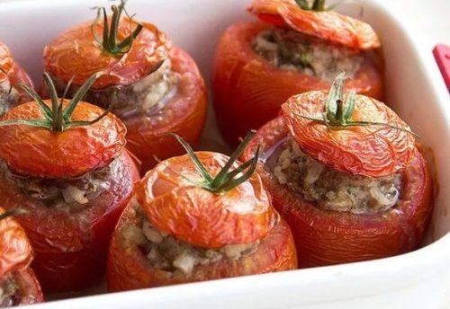 Запеченные в духовке помидоры с фаршем