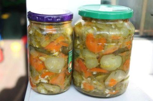 Салат из огурцов на зиму с болгарским перцем и помидорами